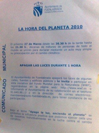 El ayuntamiento de Fuenlabrada se toma en serio la hora del planeta ofreciendo a sus vecinos