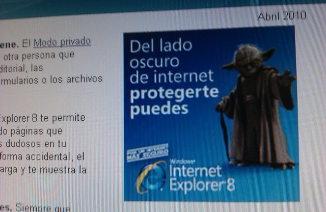 Microsoft anunciando Internet explorer 8 con Yoda