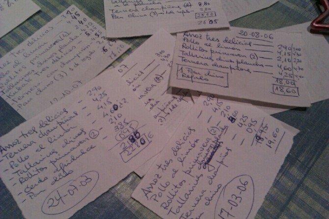 Esta noche chino, mi suegro guarda un log analógico de todos los pedidos desde 2003