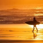 Atardecer en la playa de Sopela, costa vasca de Bizkaia